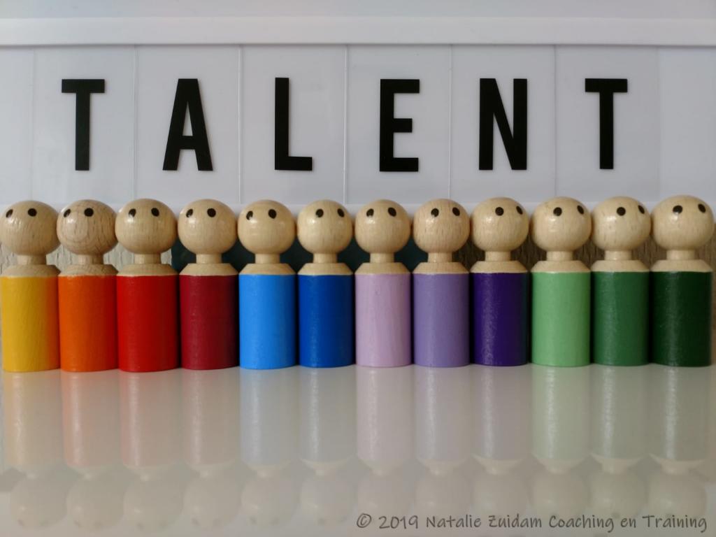"""Houten poppetjes in regenboogkleuren onder het woord """"TALENT"""""""